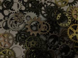 Various gears lay on a table.