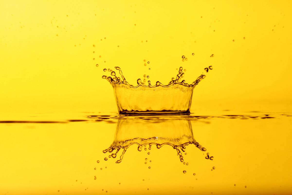 A stock image of an oil droplet landing on a surface.